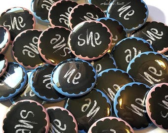 """Gender Reveal, He or She, Chalkboard, 1.5"""", Pin Back Buttons, Chalkboard Gender Reveal, Gender Reveal Buttons, Baby Reveal Buttons, Pink"""