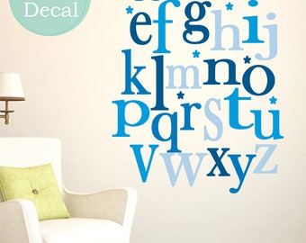 Sale  fabric wall decal ABC  Alphabet Wall Decals - kids  Wall Sticker  Fabric Wall Decal perfect decoration for nursery or playroom