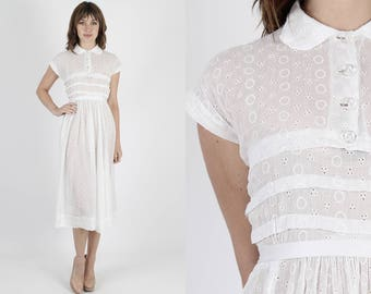 50s Dress White Dress Rockabilly Dress 1950s Dress Wedding Dress White Dress Vintage Eyelet Dress Sheer Floral Embroidered Pinup Midi Mini