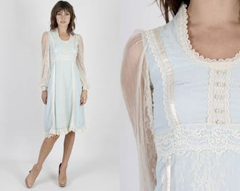 Gunne Sax Dress Prairie Dress Boho Wedding Dress Jessica McClintock Dress Lace Dress Summer Dress Vintage 70s Blue Sheer Ivory Floral Mini