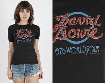 David Bowie T Shirt David Bowie Tee Ziggy Stardust Band Tee Band T Shirt Concert T Shirt Vintage 70s 1978 Tour Pop Glam Rock Black T Shirt