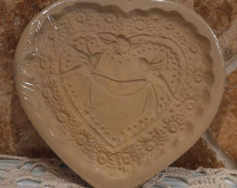 """Vintage 1985 Wedding Heart Cookie Mold By Brown Bag~About 6"""" x 6""""~From A Cookie Mold Collection"""