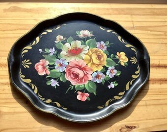 Vintage black hand painted metal tole tray, wall decor, cosmetic tray, serving tray