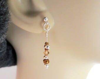 Sterling Silver Earrings - Silver & Copper with Topaz Crystals - Quirky Boho Earrings - Sterling Post Earrings