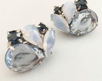Mid Century Clip On Earrings, Vintage Jewelry, Blue Rhinestone Vintage Earrings, Faux Moonstone 60s Earrings, Pear Shaped Stones, Open Set