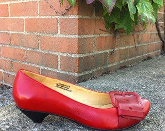 Vintage Anthropologie Red Leather Shoes with Kitten Heels   size 8.5
