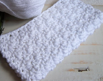 "Crochet Washcloth or Dishrag - White Cotton Yarn - 6"" x 6"""