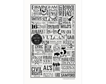 Birmingham, Alabama Letterpress City Wall Art Print Poster Gift