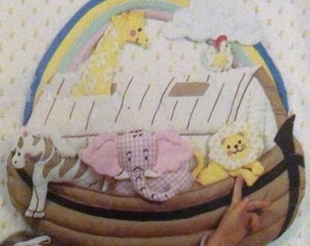 Vintage Sewing Pattern Noah's Ark Wall Hanging Toys Boat Rainbow with Animals Lion Elephant Zebra Giraffe Chicken 1980's