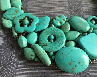 Multi shape of Blue howlite gem beads necklace.