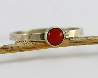 Size 9 1/2 Ring  Handcrafted Sterling Silver and Carnelian Ring Hammered Band Minimalist Contemporary Artisan Jewelry Design 4282814281817