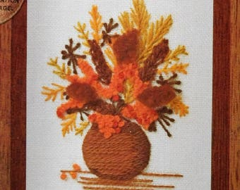 Vintage 1977 Sunset Designs Jiffy Stitchery Petite Floral Bowl Yarn Crewel Embroidery Stitch Picture Craft Kit, New/Old