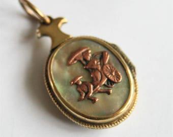 Antique Japanese locket. Shakudo locket.  Victorian locket. Abalone shell locket