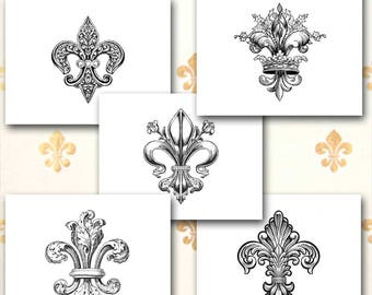 Fleur De Lis Note Cards, French Stationery, Fleur De Lys, French Heraldry, Assortment of Five or Choose Your Style, Set of Ten, Blank Inside