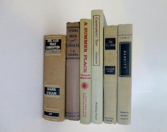 6 Book Stack Decorative Book Collection Beige Tan Tones Black Red Lettering Vintage Book 6 Book Instant Library 9.5 x 9 6 inches
