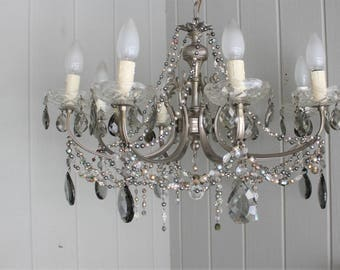 Vintage 8 Light Silver Chandelier Rebeaded with Upcycled Czech Glass Beads