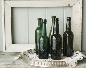 5 Antique Mold Blown Wine Ale Bottles