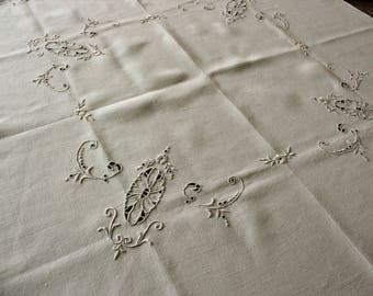 Vintage Embroidered Cutwork Ecru Linen Tablecloth
