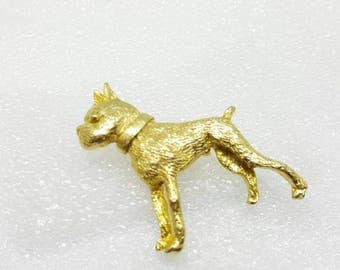 French Bull Dog   brooch Puppy Dog Lover Pin Gold tone