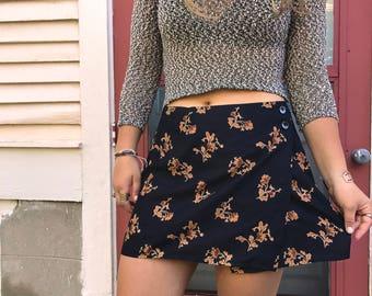 Eco Mini SKIRT, Size L, boho clothing, hippie clothing,festival skirt, poppy floral skirt, folk skirt, floral mini skirt,  Zasra