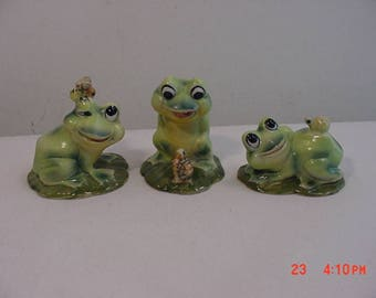 Three Vintage Josef Originals Frog Figurines  17 - 1008