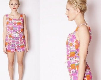 On SALE 35% Off - Vintage 1960s Mod Psychedelic Hot Neon Fuchsia Pink Bathingsuit /  Swimwear / Bathing Suit / Swimsuit / Swim Suit / Romper