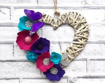 Fluttery Heart Wreath, Door Wall Wreath Art, felt flowers, butterfly
