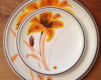 Vintage Tiger Lily  Mikasa Dinner plate and Dessert plate Orange and Brown pattern  2 plate set