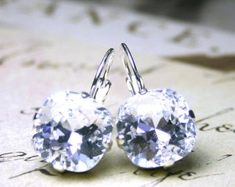 ON SALE Leverback Crystal Earrings in Crystal Clear - Swarovski Crystal Cushion Cut Stones in Silver