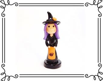 Cold Porcelain Clay Witch Figurine with Trick or Treat Pillow Bag, Purple Hair Witch Cake Topper, Witch Sculpture, Halloween Decor, Gift