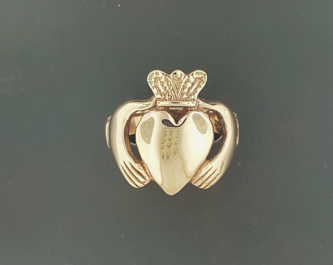 Large and Wide Antique Bronze Claddagh Ring