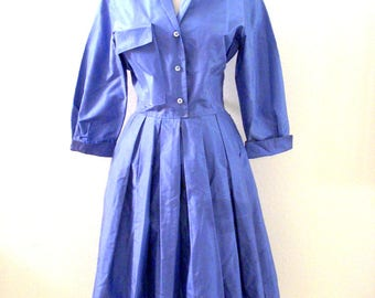 Vintage 50s Blue Taffeta Dress with Metal Zipper - Blue Taffeta 1950s Swing Dress - Blue Rockabilly Dress with Full Skirt - Size Medium