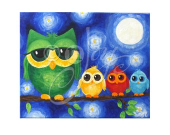 Colorful Owl Family 10x8 Art Print, Childrens Wall Art for Nursery or Playroom