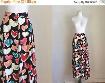 20% off SALE vintage heart print skirt - SWEETHEARTS novelty print midi skirt / L