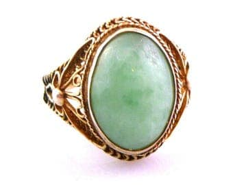 Antique Circa 1890 Chinese Export Silver Filigree & Jadeite Jade Handmade Adjustable RING Size 7.5