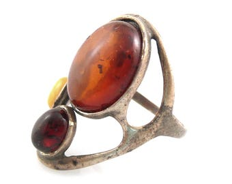 BIG Vintage 1960s 70s Handmade Abstract Modernist Sterling & Amber Cocktail RING Size 9