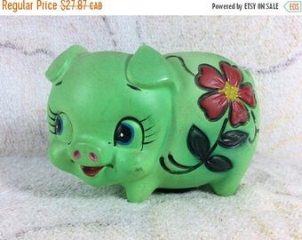 20% SALE Green Piggy Bank Ceramic 70s Retro Flower Kitsch Figurine