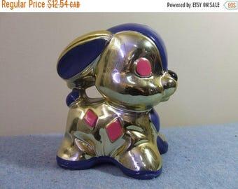 CLEARANCE Vintage Bunny Bank - Ceramic Metallic Banff Canada Retro Piggy Bank Money Coin Bank Easter