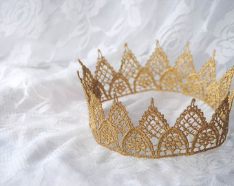 """Gold Princess Lace Crown - """"Sweet Floral Crown"""" - fairy tale, royalty, birthday crown, bridal crown, bachelorette party"""