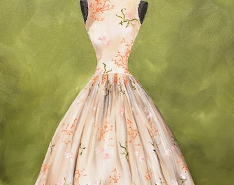 Fashion Painting, Vintage Dress, Vintage Fashion, Dress Painting, Oil Painting, 1950s