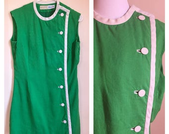 Vintage 1960's Kelly Green With White Button Detail Mod Mini Shift Scooter Dress Large L