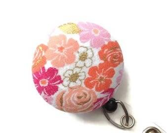 Floral Retractable Badge Holder ID Badge Reel Nurse Gift Key Card Holder Name Badge Holder Teacher Gift Flower Pink Coral Gold White