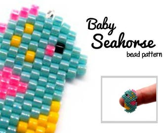 Baby Seahorse Bead PATTERN, Brick Stitch