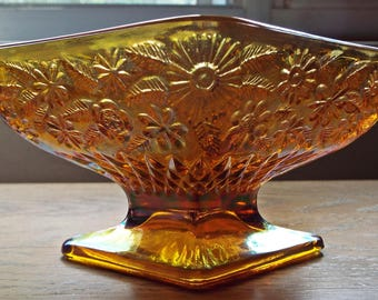 Pineapple and Floral small Amber Carnival Glass Compote