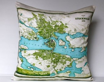 SALE SALE SALE Map cushion cover, city map Stockholm  organic cotton, atlas cushion, 16 inch cushion, 40cm pillow, throw pillow