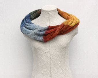 Knit Mohair Infinity Scarf in soft warm lightweight kid mohair and silk in a unique color blend - Tirelis Bog