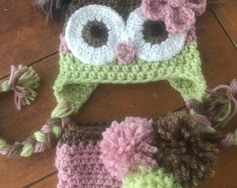 Newborn owl hat set