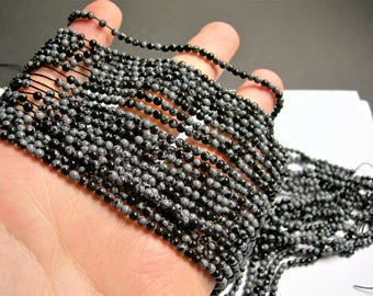 Snowflake obsidian - 3mm round beads -1 full strand - 132 beads - A quality - PG57