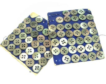 Smoky Mother of Pearl Buttons... Two Part Cards... 68x 13mm