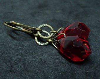 Original Art Deco Earrings... Bright Red Drops... Leverback